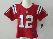 kids nfl New England Patriots #12 Tom Brady red jersey