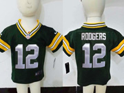 kids nfl Green Bay Packers #12 Aaron Rodgers green jersey