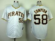 Mens mlb pittsburgh pirates #58 cumpton white Jersey