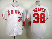 Mens mlb los angeles angels #36 weaver white Jersey