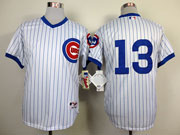 Mens Mlb Chicago Cubs #13 Cadtro 1988 Turn Back The Clock White Jersey(blue Stripe No Name)