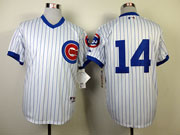 Mens Mlb Chicago Cubs #14 Banks 1988 Turn Back The Clock White Jersey(blue Stripe No Name)