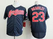 Mens Mlb Cleveland Indians #23 Brantley Dark Blue Cool Base Jersey
