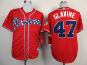 Mens Mlb Atlanta Braves #47 Glavine Red(2014 New) Jersey( Cool Base)