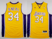 Mens Nba Los Angeles Lakers #34 O'neal Gold Revolution 30 Jersey (p)