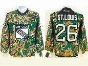 youth reebok nhl new york rangers #26 st.louis (2014 green camo) Jersey