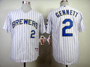 Mens mlb milwaukee brewers #2 gennett white (blue stripe) Jersey