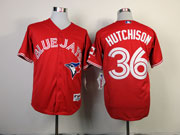 Mens Mlb Toronto Blue Jays #36 Hutchison Red Jersey