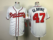 Mens mlb atlanta braves #47 glavine white Jersey