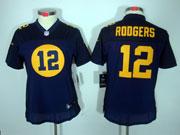 women  nfl Green Bay Packers #12 Aaron Rodgers blue(orange figure) limited jersey