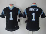 Women  Nfl Carolina Panthers #1 Cam Newton Black Limited Jersey