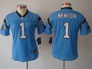 Women  Nfl Carolina Panthers #1 Cam Newton Light Blue Limited Jersey