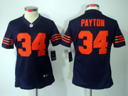 women  nfl Chicago Bears #34 Walter Payton blue (orange number) limited jersey
