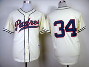 mens mlb san diego padres #34 fingers 1984 turn back the clock cream Jersey(no name)