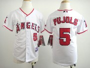 youth mlb los angeles angels #5 pujols white Jersey