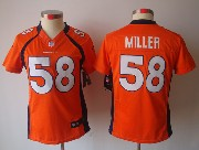 women  nfl Denver Broncos #58 Von Miller orange limited jersey