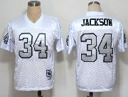 Mens Nfl Oakland Raiders #34 Bo Jackson White (silver Number) Throwbacks Jersey
