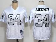 Mens Nfl Oakland Raiders #34 Bo Jackson White (silver Number) Throwbacks Jersey