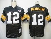Mens nfl pittsburgh steelers #12 bradshaw black throwbacks Jersey