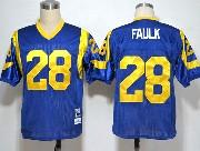 Mens Nfl St. Louis Rams #28 Faulk Light Blue Throwbacks Jersey