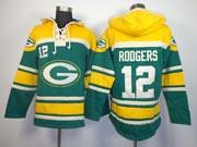 mens nfl Green Bay Packers #12 Aaron Rodgers green (team hoodie) jersey