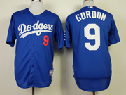 Mens mlb los angeles dodgers #9 gordon blue Jersey