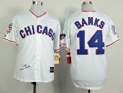 Mens Mlb Chicago Cubs #14 Banks Full White 1988 Throwbacks Jersey
