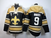 nfl New Orleans Saints #9 Drew Brees black (team hoodie) jersey