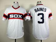 Mens mlb chicago white sox #3 baines white throwbacks 1983 Jersey