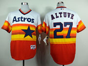 Mens Mlb Houston Astros #27 Altuve White&orange Throwbacks Pullover Jersey