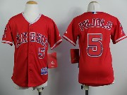 youth mlb los angeles angels #5 pujols red Jersey