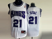 Mens Nba Sacramento Kings #21 Divac White Purple Number Mesh Jersey