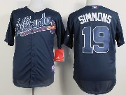 Mens mlb atlanta braves #19 simmons blue Jersey