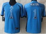 Youth Nfl Carolina Panthers #1 Cam Newton Blue 2014 Drift Fashion Elite Jersey