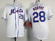 Mens mlb new york mets #28 murphy full white Jersey
