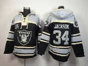 Mens Nfl Oakland Raiders #34 Bo Jackson Black (team Hoodie) Jersey