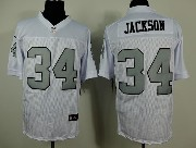 Mens Nfl Oakland Raiders #34 Bo Jackson White (silver Number) Elite Jersey