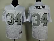 Mens Nfl Oakland Raiders #34 Bo Jackson White (silver Number) Elite Jersey