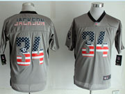 Mens Nfl New Oakland Raiders #34 Bo Jackson 2014 Usa Flag Fashion Gray Shadow Elite Jerseys