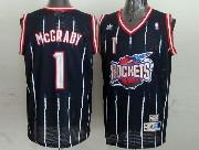 Mens Nba Houston Rockets #1 Mcgrady Blue Stripe Mesh Jersey