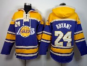 Mens Nba Los Angeles Lakers #24 Bryant Purple&gold Team Logo Hoodie Jersey