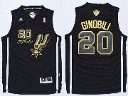 Mens Nba San Antonio Spurs #20 Ginobili Black 2014 The Finals Champions (gold Name) Jersey