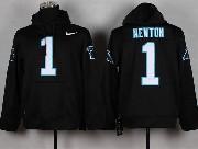 Mens Nfl Carolina Panthers #1 Cam Newton Black (nk Team Logo) Pullover Hoodie Jersey
