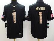 Mens Nfl Carolina Panthers #1 Cam Newton Salute To Service Black Limited Jersey