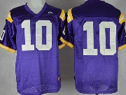 Mens Ncaa Nfl Lsu Tigers #10 Jennings Purple Jersey