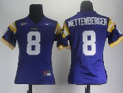 Women Ncaa Nfl Lsu Tigers #8 Mettenberger Purple Jersey