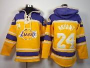 Mens Nba Los Angeles Lakers #24 Bryant Gold&purple Team Logo Hoodie Jersey