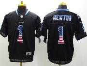 mens nfl Carolina Panthers #1 Cam Newton black (2014 usa flag fashion) elite jersey