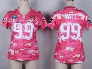 women  nfl Houston Texans #99 JJ Watt pink camo game jersey
