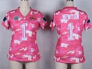 women  nfl Carolina Panthers #1 Cam Newton pink camo game jersey